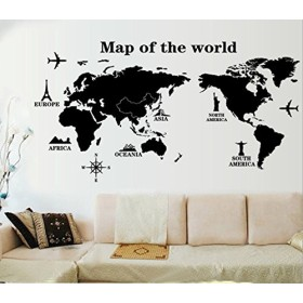 ZooArts ウォールステッカー ウォールシール ウォールペーパー 世界地図 ランドマーク旅行 世界一周旅 飛行機 生活防水 環境保護 おしゃれ はがせる