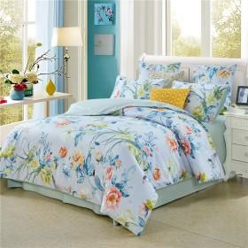 淡いブルー 春夏 北欧清新風 植物花柄と鳥模様 寝具カバーセット 掛け布団カバー 枕カバー 150210cm