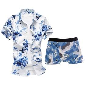 Star Moon Moo メンズ シャツ 半袖 花柄シャツ 小柄 吸汗通気 ワイシャツ おしゃれ 大きいサイズ アロハシャツ 高品質 センスがいい 7XL