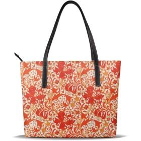 バッグ 綺麗な赤の花柄トートバッグ メンズ レディース ビジネス トート 大容量 A4 B4 レザー 革 通勤 通学 軽量 カジュアル 縦型 旅行 丈夫 防水
