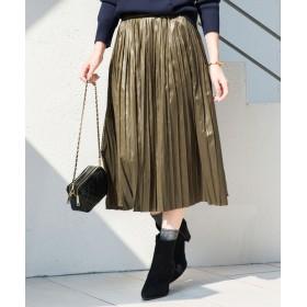 Loungedress(ラウンジドレス) レディース グロッシープリーツスカート カーキ