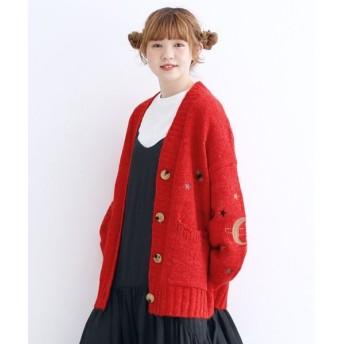 メルロー マジカル刺繍ニットカーディガン レディース レッド FREE 【merlot】