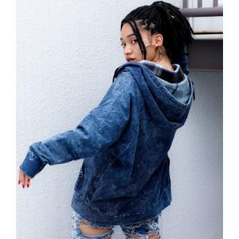 パーカー - babyshoop B系 レディース ファッション ストリート ダンス デニム地スウェットドルマンフーディー1109