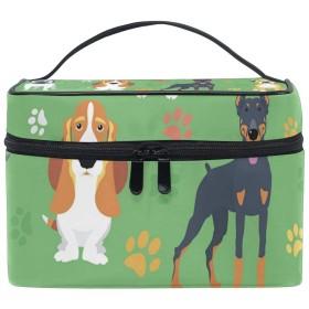 メイクポーチ かわいい 犬 足跡柄 化粧ポーチ 化粧箱 バニティポーチ コスメポーチ 化粧品 収納 雑貨 小物入れ 女性 超軽量 機能的 大容量