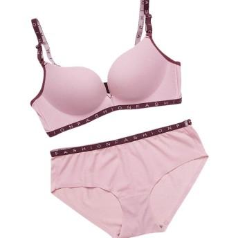 女性下着 ブラジャー 女性のためのセクシーなレターブラは、下着セットを厚くブラジャーランジェリーブラーをプッシュアップ 脇肉スッキリ,リフトアップ ブラジャー&ショーツ セット4カラー (ピンク, 85AB)