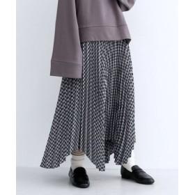 (merlot/メルロー)チェック柄アシメヘムプリーツスカート/レディース ネイビー