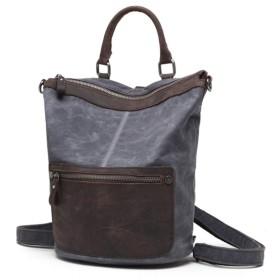 Tantanbaihuoバックパック 高密度綿の生地および屋外旅行バックパックが付いているオイルのワックスの防水頭部の層の革キャンバス袋。ノートパソコンのバックパック (色 : 暗灰色)