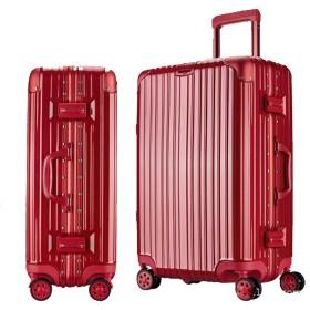 高級アルミフレームトロリーケース、ユニバーサルホイールスーツケース、海外スーツケース、軽量スーツケース-red2-S