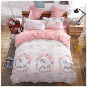 寝具カバー4枚セット 掛け布団カバー 枕カバー ツイン フル クイーンサイズ(クイーン、ユニコーン)。 クイーン ピンク