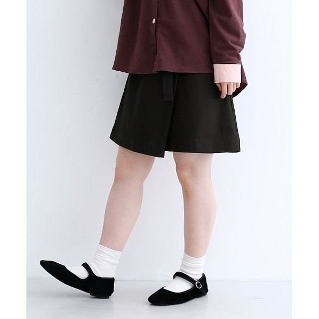 【40%OFF】 メルロー コットンヘリンボーンベルト付きミニスカート レディース ブラック FREE 【merlot】 【セール開催中】