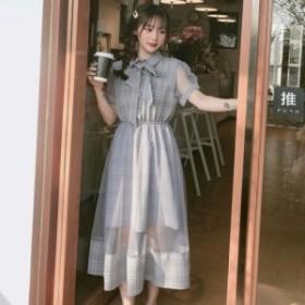 パネルスカート ワンピース チェック シースルー ウエストギャザー 韓国ファッション オルチャンファッション