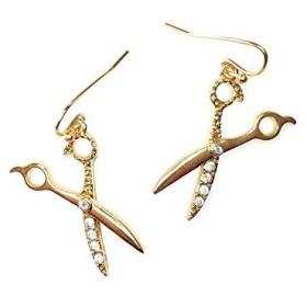 Golden Bejeweled Scissorドロップイヤリング