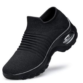 [Ramboo] ウォーキングシューズ レディース ローファースニーカー スリッポン 船型底ナースシューズ エアクッション ランニング ダイエット アウトドア 厚底 超軽量 美脚 安全靴 作業靴 看護師 婦人靴 矯正靴 ブラック 24.0CM