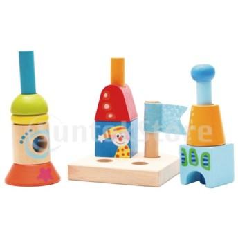 木製ブロック建設建物のおもちゃスタッキングブロックキッズギフト