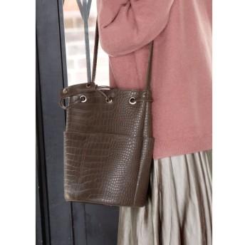 スタイルデリ 型押し巾着バッグ レディース ブラウン F(フリーサイズ) 【STYLE DELI】