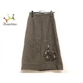 レリアン Leilian スカート サイズ9 M レディース 美品 ベージュ×ダークブラウン 千鳥格子/刺繍 新着 20190910