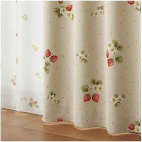 [nissen(ニッセン)] 遮光カーテン レースカーテン 4枚セット いちご柄 アイボリー系 幅100×長さ135(133)cm