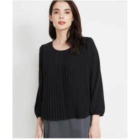 MICHEL KLEIN 【洗える】シフォンプリーツブラウソー Tシャツ・カットソー,ブラック