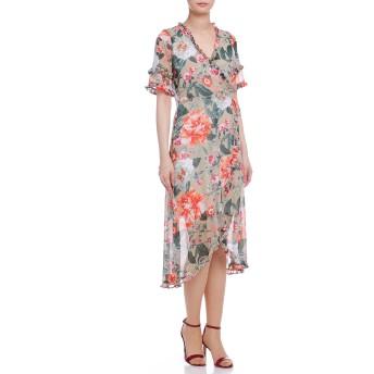 【59%OFF】シフォン フラワープリント フリル ラップデザインドレス マルチ 2