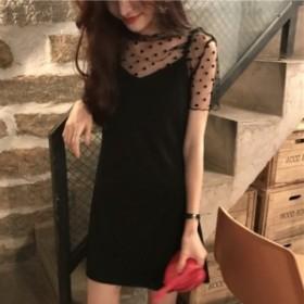 ワンピース ドット シースルー ショート丈 パーティー お呼ばれ 韓国ファッション オルチャンファッション