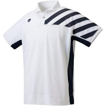 [デサント] ポロシャツ 吸汗速乾 ストレッチ UVケア DMMOJA70 メンズ ホワイト×ネイビー XO