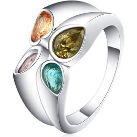 COMVIP 指輪 おしゃれ レディース 指飾り シンプル アクセサリー リング パーティー 誕生日 ジルコニア プレゼント 色:シルバー 米国サイズ6号