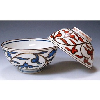 京焼・清水焼 磁器 夫婦組飯碗 染赤唐草 紙箱入 Kiyomizu-kyo yaki ware. Set of 2 meshiwan bowl red arabesque with paper box. Porcelain.