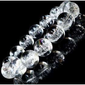 アイリスクォーツ 人工クラック 虹入り 水晶 ブレスレット 16mm 天然石