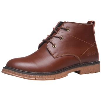 [Mimoonkaka] ブーツ メンズ ビジネスシューズ ウォーキング 防水 紳士靴 スニーカービズ レースアップ 革靴 通勤 通学 就活 普段 おしゃれ ブラウン26