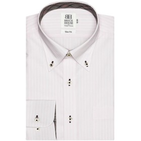ブリックハウス ワイシャツ 長袖 形態安定 ボタンダウン スリム メンズ BM019502AC11B1A-84 ピンク・レッド M-84