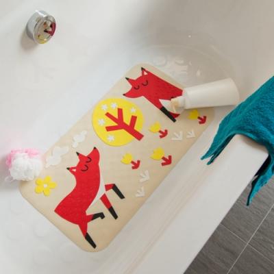 vanibaby浴室防滑墊 浴盆止滑墊  立體圖案超強吸力 快樂狐狸