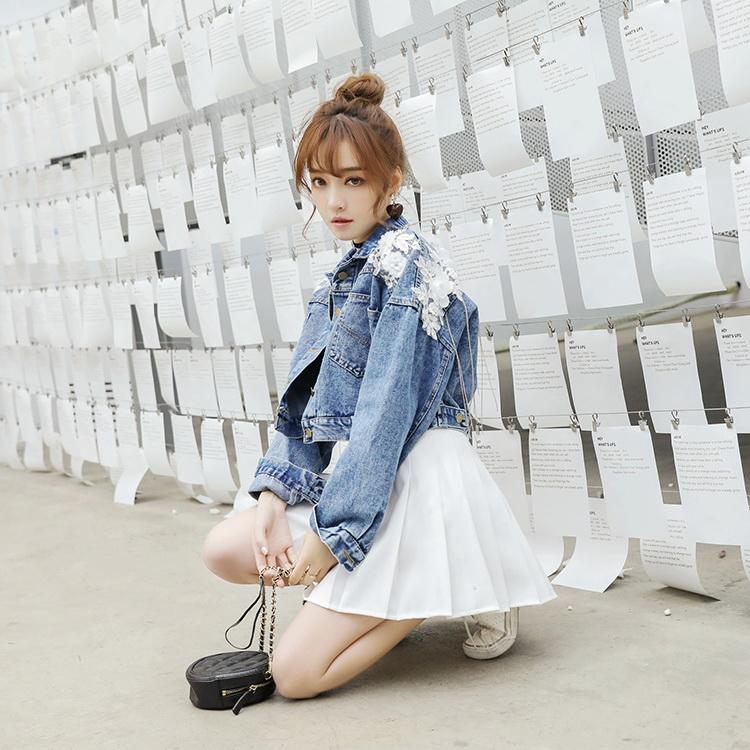 VIVILIAN日系網美推薦重工甜美蕾絲繡花流蘇後開叉單排扣百搭牛仔外套/藍