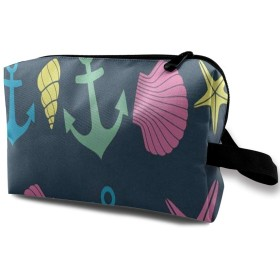 巻き貝の殻とヒトデ ポーチ 旅行 化粧ポーチ 防水 収納ポーチ コスメポーチ 軽量 トラベルポーチ25cm×16cm×12cm