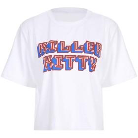 TAALESET 女性のカジュアルレタープリント半袖TシャツブラウスサマーTシャツ (色 : ホワイト, サイズ : M)