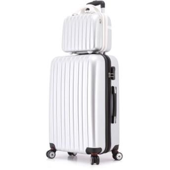 トロリーケース、トラベルバッグ、荷物、搭乗箱、キャスターの男性と女性、軽量スーツケース軽量スーツケース-Silver-S