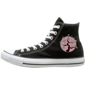[TONICKZILLA] Tokyo ピンク桜東京 スニーカー キャンパス生地 ズックシューズ 靴 Shoe メンズ レディース カジュアル スニーカー ハイカット おしゃれパタン 通気 通学 通勤 ブラック