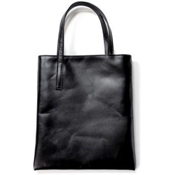 アトリエyoh シンプルな革のぺたんこトート(ブラック)