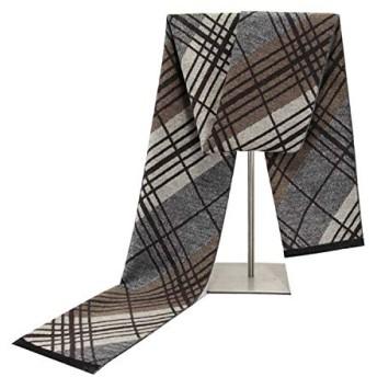 メンズ コットン スカーフ タッセル付き 秋 冬 コントラストカラーストライプ ネッカチーフ 180×30cm #0850 (Color : 1, Size : 18030CM)