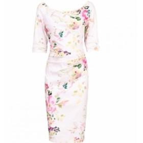 ジョリモリ Jolie Moi レディース ワンピース ワンピース・ドレス Retro Floral Print Half Sleeve Dress Pink