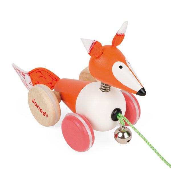 Janod  經典設計木玩 拉車小狐