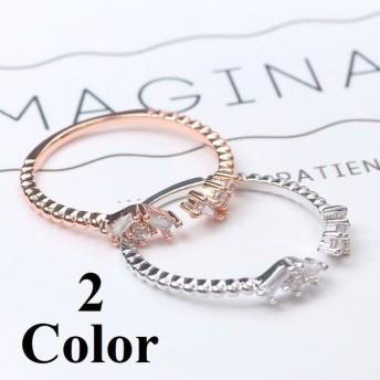 指輪 リング 華奢 細い ラインストーン ワンサイズ フリーサイズ レディース アクセサリー お洒落 ピンクゴールド シルバー