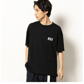 【Purple & Yellow:トップス】バックプリント 半袖クルーネックTシャツ