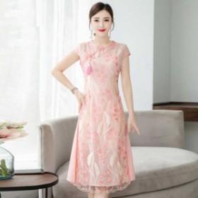 アオザイ ベトナム ワンピース チャイナ風服 半袖 ロング丈 普段着 大きいサイズ M L LL 3L 4L 刺繍 グリーン 緑 ピンク