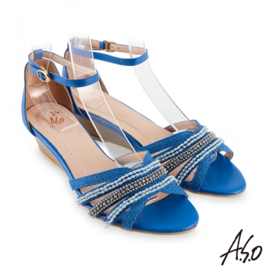 A.S.O 阿瘦 時尚流行 亮眼魅力民族串珠條帶風格楔型跟鞋 藍 10028000296-88