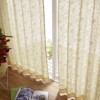 【99サイズ】部屋を明るくするフラワー柄の採光ミラーレースカーテン