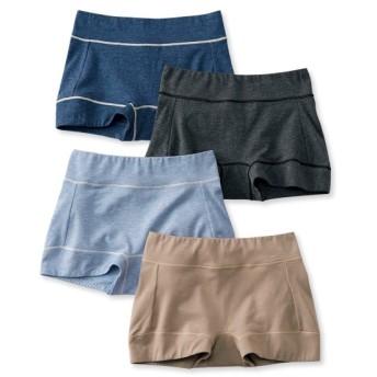 テンセルTM繊維。綿混ストレッチお腹脚口らくちん深ばきボックスショーツ4枚組 スタンダードショーツ,Panties