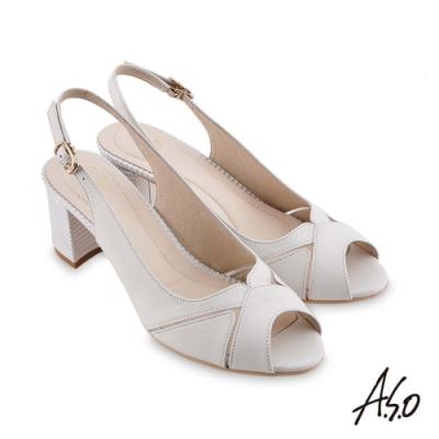 A.S.O 時尚流行 健步美型簡約魚口粗跟鞋-白
