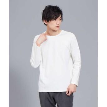 (ABAHOUSE/アバハウス)【ノンストレス】COTTON LYCRA圧着クルーロングTシャツ/メンズ ホワイト 送料無料