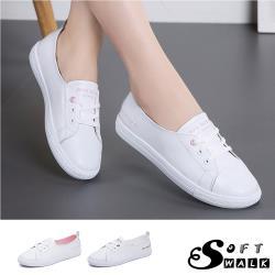 【SOFT WALK 舒步】真皮個性英文印字百搭平底休閒小白鞋(2色任選)
