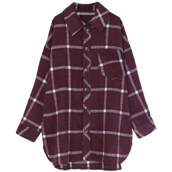 ティティベイト titivate チェックオーバーサイズシャツ/ジャケット (ワイン)